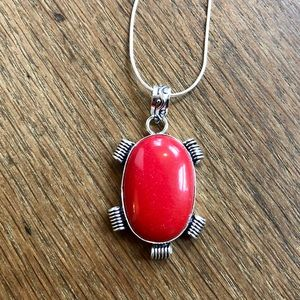 Coral gemstone necklace new without tags